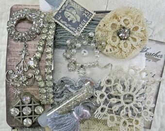 Embellishment Inspiration Kit...Silver & Rhinestone...Gift Box 96, Series 1...Vintage Elements, Collage, Mixed Media, Art Journal Supplies