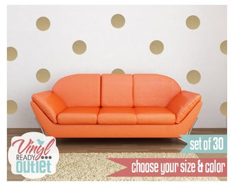 Pick your Size & Color! Polka Dot Circle Vinyl Wall Decals - Set of 30