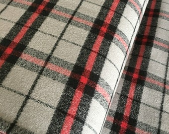 Flannel Fabric, Mammoth Plaid Flannel, Buffalo Plaid, Red Gray Flannel, Lumberjack Chic, by Robert Kaufman, Mammoth Flannel in Iron 104