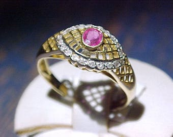 Vintage 10k Gold Ruby and Tiny Diamond Ring