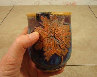 Handmade Tea Cup with Wild Geranium Leaf - Treehugger Series