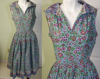 Vintage 1950's Peck & Peck Cotton Floral Day Rockabilly Sun Dress