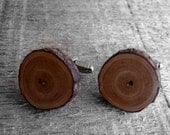 Rustic Cherry Twig Wooden Cuff Links by Tanja Sova