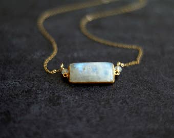 Moonstone Bar Necklace Statement necklace White gemstone choker Vitrine Designs Layering Necklace