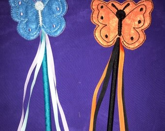 Embroidered Felt Butterfly Wand  - Great for Party Favors, Dress Up and Costumes - Choose your colors!