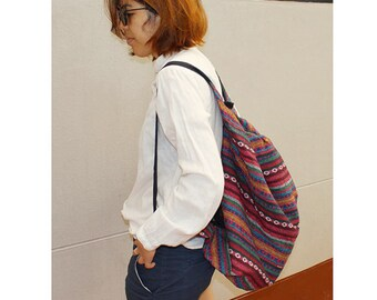 Shoulder Bag Crossbody Bag Sling Bag Hippie Hobo Bag Handmade bag Purse Cross Body Thai bag / Gift Black Multi-color (SH33)