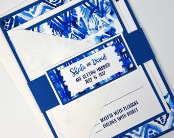 Indigo Blue Watercolor Batik Invitation and RSVP Beach Destination Wedding Suite