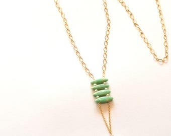 Long Gold Green Necklace / Long Gold Abakus Necklace / Long Statement Necklace / Long Gold Necklace with Aventurine Pearls and Green Quartz