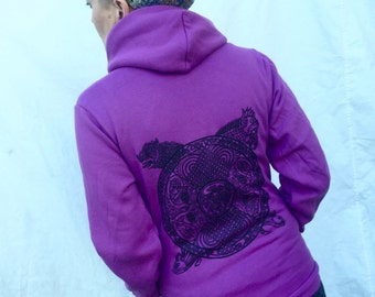 Purple Celtic Cats Hoodie Mandala Zoomorphic Orchid Creatures Feline Knotwork ZipUp Gift For Her Flex Fleece Sm M L XL XXL