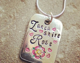 Hand Stamped Pewter Pendant Necklace - Lancashire - Gift for Her - Jewellery - Personalised - Personalize