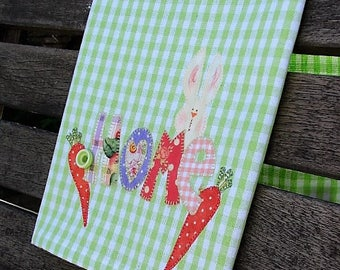 Rabbit Tea Towel | HOME Kitchen Towel | Applique Carrots & Bunny | Country Kitchen Decor | Green White Check Towel | Hostess Gift