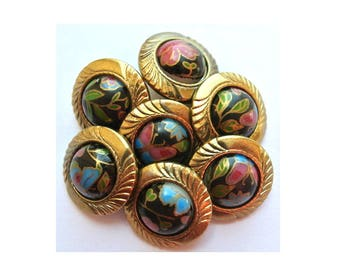 Vintage plastic buttons, 6 black buttons with colorful flowers 18mm, bronze color circle