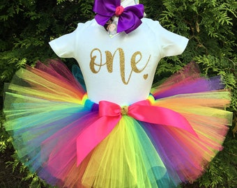 Rainbow First Birthday Outfit, Gold ONE Bodysuit, Rainbow Tutu, 1st Birthday Outfit, Cake Smash Tutu, Girl Birthday Dress