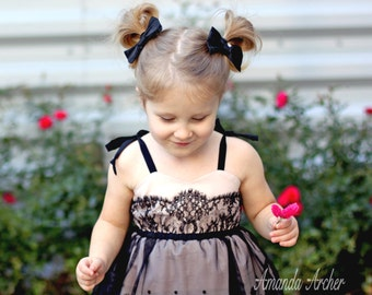 Black Silk Pigtail Bow Clips for Girl