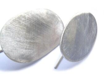 Oval irregular earrings in reclaimed brushed or blacked sterling
