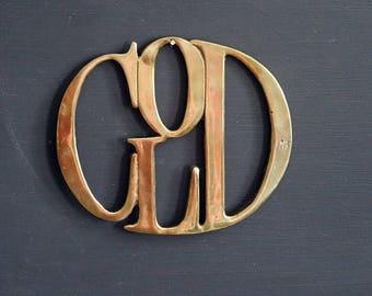 Brass Trivet COLD Letters Kitchen Trivet