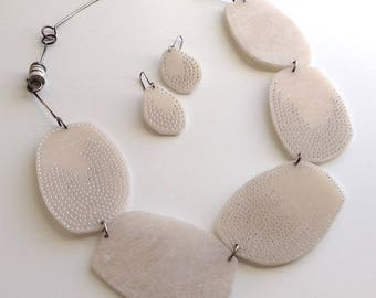 Cell Statement necklace, ivory, handmade, artist made,  contemporary, art jewelry
