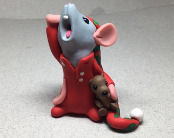 Yawning Mouse with Teddy Bear Ornament by Shelly Schwartz