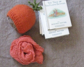 Knitted Carrot Hat w/Ribbed Brim and Coordinating Cheesecloth Wrap/Photo Prop/Spring/Easter/Newborn/Ready to Ship