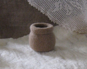 Camel Felted Bowl w/Rolled Brim/Decorative /Gift Under 15/Home Decor/Ready to Ship