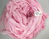 Silk sari ribbon, Silk CHIFFON Sari Ribbon, Pastel Pink chiffon sari ribbon, pink sari ribbon, Tassel supply, knitting supply, pink ribbon