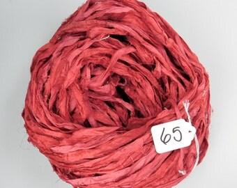 Sari Silk Ribbon, Recycled Silk Sari Ribbon, Oxblood red Ribbon, red sari ribbon, weaving supply, knitting supply, valentines ribbon