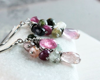 Tourmaline Cluster  Earrings  Oxidized Silver October  Birthstone  Gemstone Jewelry Wire Wrapped Birthday Gift Boho Style