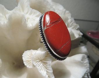 Beautiful Large Red Agate Jasper Ring Size 6.25