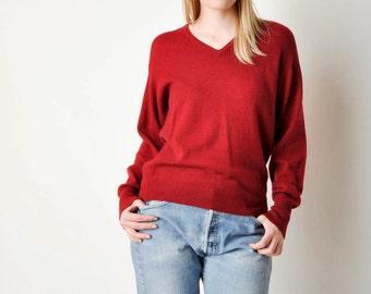 Vintage Maroon Cashmere V Neck Sweater