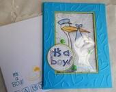 Handmade Baby Boy Card: new baby, boy, blue, complete card, handmade, balsampondsdesign,stork, ooak, shaker card
