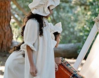 Prairie Nightgown & Mob Cap Girls Cotton Eyelet Lace Custom made