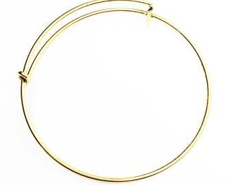 4 pcs Adjustable wire bangle, antique gold bangle, bulk wire bangle 65mm