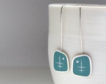 Aqua Blue Long Earrings - Modern Silver Earrings - Pale Blue Dangle Earring - Gift for a Woman - Graphico Atomic -