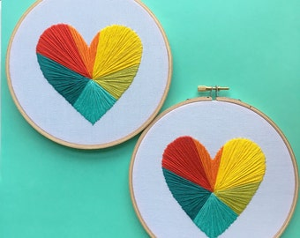 Rainbow Geometric Heart embroidery hoop art