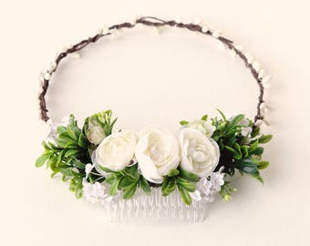 Rustic bridal headpiece, Woodland wedding crown, Bridal hair accessory, White ranunculus comb, Bridal headpiece, Ivory floral hair wreath