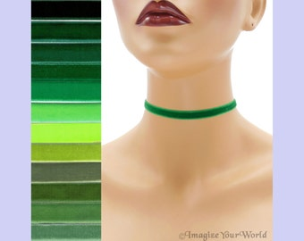 Green Velvet Choker 3/8 inch wide Custom made Your Length and Color shade (approximate width 0.375 inches; 9 - 10 mm) elastic colors noted