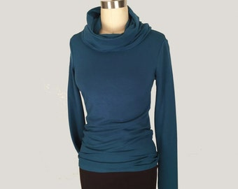 Alena Designs - Nocturnette - Cowl Neck Top Sweater Bamboo Cotton Lycra Teal
