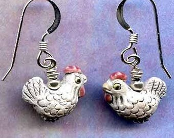 Chicken Little Sterling Silver Earrings