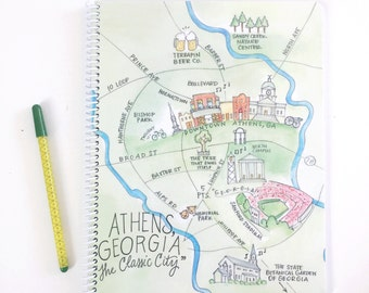 Large Athens, Georgia Watercolor Map Spiral Bound Journal Notebook