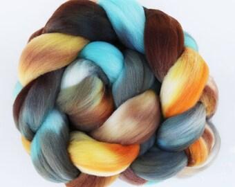 "Targhee Wool Combed Top Hand-dyed Spinning Fiber, 4 oz, ""Rock Climbing"""