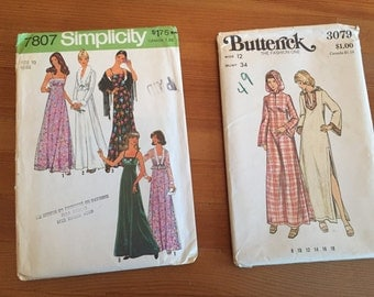2 1970s Dress Patterns New Old Stock Unused Maxi dress and Caftan Dress Sz S/M
