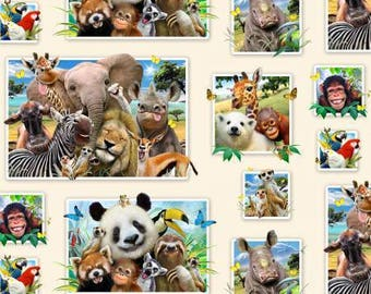 Zoo Selfies Cream  - Elizabeth's Studio- Zoo Animals- Cotton Fabric - Cream - By the yard.