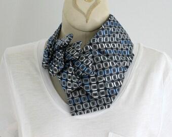 Necktie Necklace - Women's Necktie - Upcycled Tie - Work Wear - Statement Necklace - Hipster Clothing - Vintage Silver and Blue Tie. 47