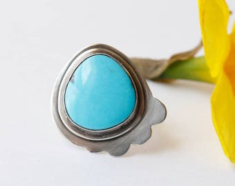 Yes Frills Ring - Turquoise Stone and Sterling Statement Ring