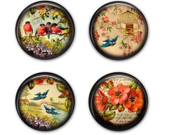 Vintage Birds and Flowers - Drink Coasters, Set of 4 Coasters - C004