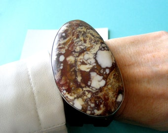 RESERVED..Navajo Wild Horse Magnesite and Sterling Silver Triple Leather Wrap Bracelet
