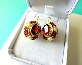 18kt Gold Garnet with Pearl and Topaz Halo Earrings