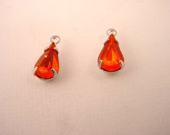 6 Vintage glass Orange Hyacinth Teardrop pear Rhinestone Drop Charms 10x6 1 ring silver charms