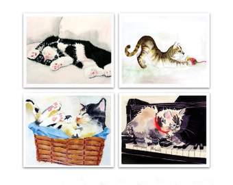 Cat Art Prints Laundry room art Sale 20% off set of 4 Prints Watercolor painting Cats Kittens Kitty Nursery wall art decor LaBerge N