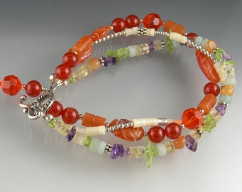 Sterling Silver Gemstone Crystal Beaded Multi-Strand Boho Gypsy Bracelet in Orange Purple Lime Aqua Ivory